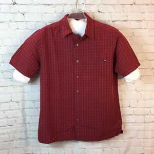 Marmot maroon/gray plaid short sleeve shirt